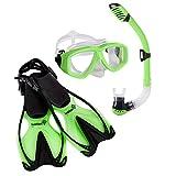 Snorkeling Set - Kids Snorkel Mask & Fins Set - Includes Double Lens Snorkel Mask; Snorkel w/Dry Top, Lower Purge Valve & Flexible Mouthpiece; & Adjustable Speed Fins