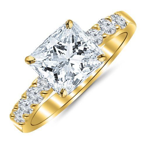110 Carat Princess Cut/Shape 14K Yellow Gold Classic Prong Set Diamond Engagement Ring with a 060 cwt IJ Color Eye Clean Clarity Center Stone