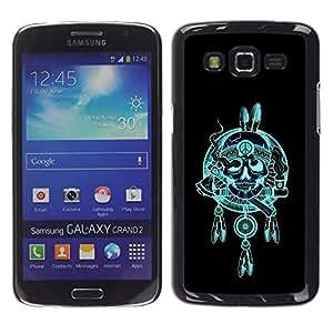 Be Good Phone Accessory // Dura Cáscara cubierta Protectora Caso Carcasa Funda de Protección para Samsung Galaxy Grand 2 SM-G7102 SM-G7105 // Indian Chief Feathers Hatchet Skull
