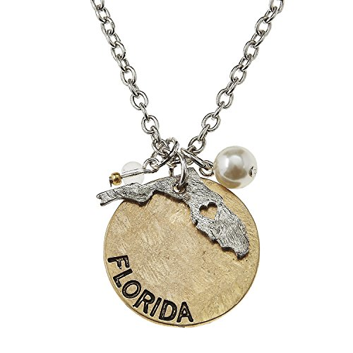 (PammyJ Two-Tone Florida State Charm Cluster Pendant Necklace, 16