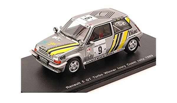 Amazon.com: SPARK MODEL S3859 RENAULT 5 GT TURBO N.9 IVORY COAST 1989 OREILLE-THIMONIER 1:43: Toys & Games