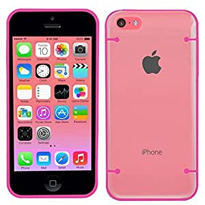 SAMRICK Studs Dots Shiny Glossy Hard Hybrid Armour Shell Protection Case for Apple iPhone 5C - Pink/Clear Transparent by SAMRICK