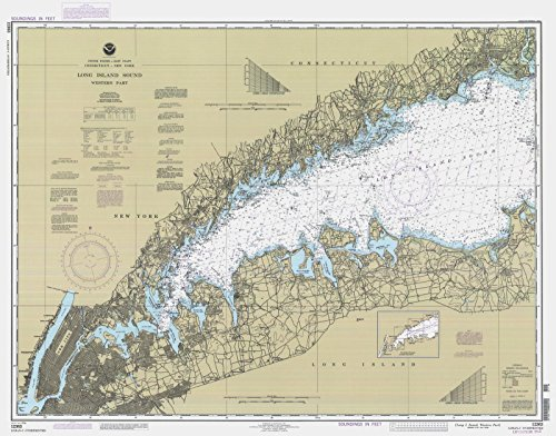Map - Long Island Sound - Western Part, 1994 Nautical NOAA Chart - Connecticut, New York (CT, NY) - Vintage Wall Art - 55in x 44in (Sound Long Island Depth)