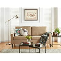 Mainstays Apartment Sofa, Upholstery Grade Woven Fabirc | 72.5L x 33.2W x 36.2H (Sand)