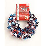 Patriotic Metallic Star Garland - Red, Silver and Blue - 20 feet