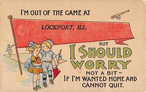 Lockport Illinois Child Couple Pennant Flag Antique Postcard K71109