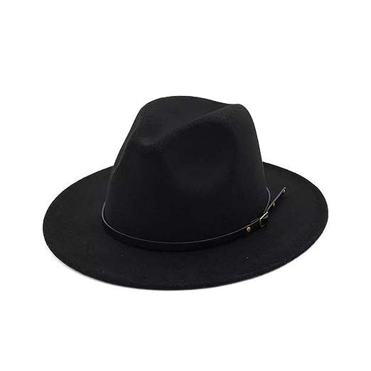fc2f5debca0 Lanzom Women Lady Retro Wide Brim Floppy Panama Hat Belt Buckle Wool Fedora  Hat (Black