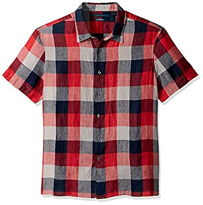 Perry Ellis Men's Short Sleeve Plaid Linen Shirt