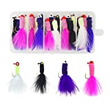 #10: Fishing Crappie Jigs Hard Lure Accessory Marabou Bass Pike Walleye Jigs with Feather Lead Head Hook for Ice Fly Fishing