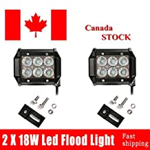 "Topcarlight 2Pcs 18W 4"" Inches Flood Beam 8 Degree Off Road Cree LED Work Light Fog Light Bar 4wd Boat UTE ATV SUV Driving Car Waterproof"