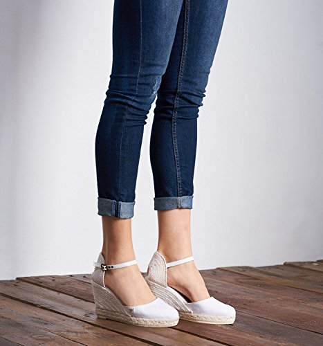 Satuna in Espadrilles Ankle inch VISCATA Heel 3 Spain Classic White Jute Made Strap Toe with Closed d47wq4f