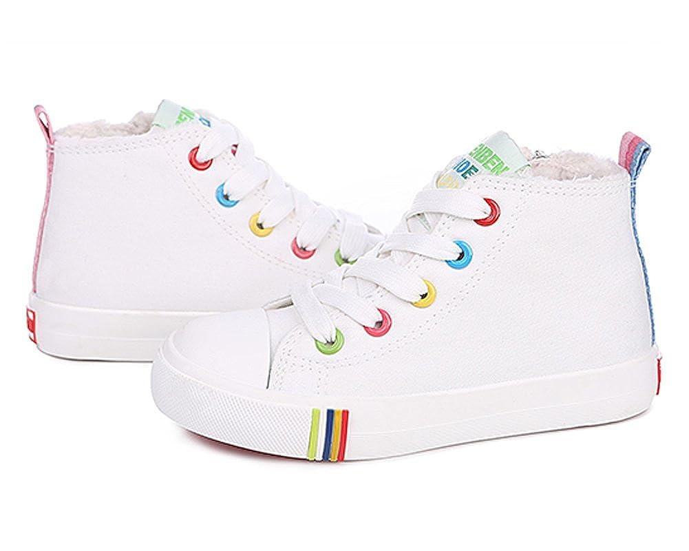 Toddler//Little Kid//Big Kid iDuoDuo Kids Rainbow Board Sneakers Fur-Lined High-Top Snow Sneakers