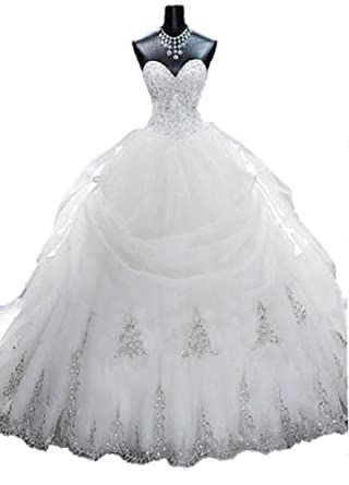 Lovelybride Gorgeous Beaded Gold Appliques Puffy Wedding Ball Gown With Long Train 2 Ivory