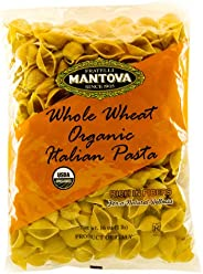 Mantova Italian Organic Whole Wheat Pasta Shells - 100% Durum Semolina Organic Shells- 16 Oz Pack Of 12) - Product Of Italy