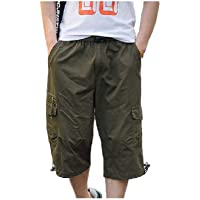Howely Mens with Side Pockets Endurance Summer 3/4 Length Pants Shorts