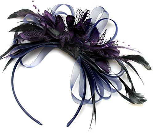 Bleu marine et violet foncé Serre-tête bibi avec plume pour cheveux Net Créoles mariage Royal Ascot courses