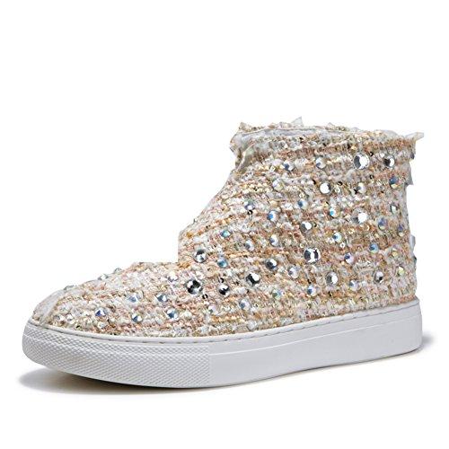caída zapatillas superior alta moda/escoge los zapatos/Moda coreana del remache con zapatos planos B
