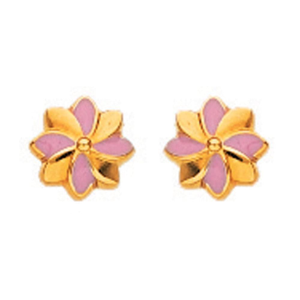 Pink Enamel Flower Stud Earrings 18k Yellow Gold So Chic Jewels