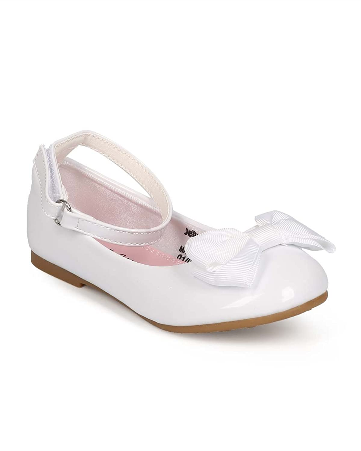 bb61c1ec1c9 Alrisco EC10 Girl Patent Round Toe Ankle Strap Bow Ballet Flat (Toddler) -  White