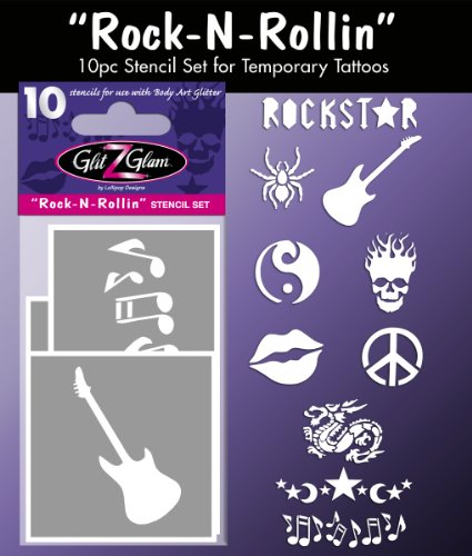 (Tattoo Stencil Set for Glitter Tattoos: Rock N Rollin Temporary Tattoos - HYPOALLERGENIC and DERMATOLOGIST TESTED!)