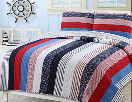 Cozy Line Home Fashions Derek Blue Red Navy White Star Striped 100% Cotton Quilt Bedding Set, Reversible Coverlet, Bedspread Set (Axel Stripe, Twin - 2 - Red Quilt Cotton