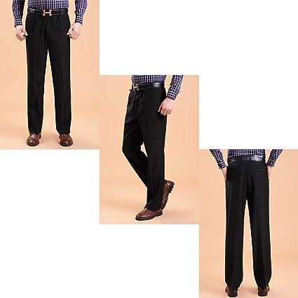 94e67f18355f0 BOZEVON Pantalones de Traje Formal Hombres - Pantalones Largos Rectos  Oficina de Trabajo  Amazon.es  Ropa y accesorios