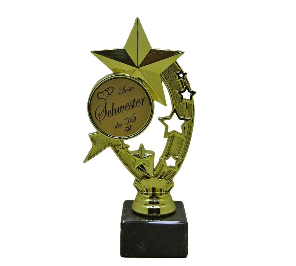 RaRu Geschenk-Pokal (Stern) fü r viele verschiedene Anlä sse und 3 Sticker (Siegesgö ttin oder Champion) HE