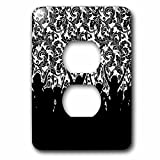 Doreen Erhardt Business Collection - Cheering Crowd of Silhouette People with Black and White Damask - Light Switch Covers - 2 plug outlet cover (lsp_236178_6)