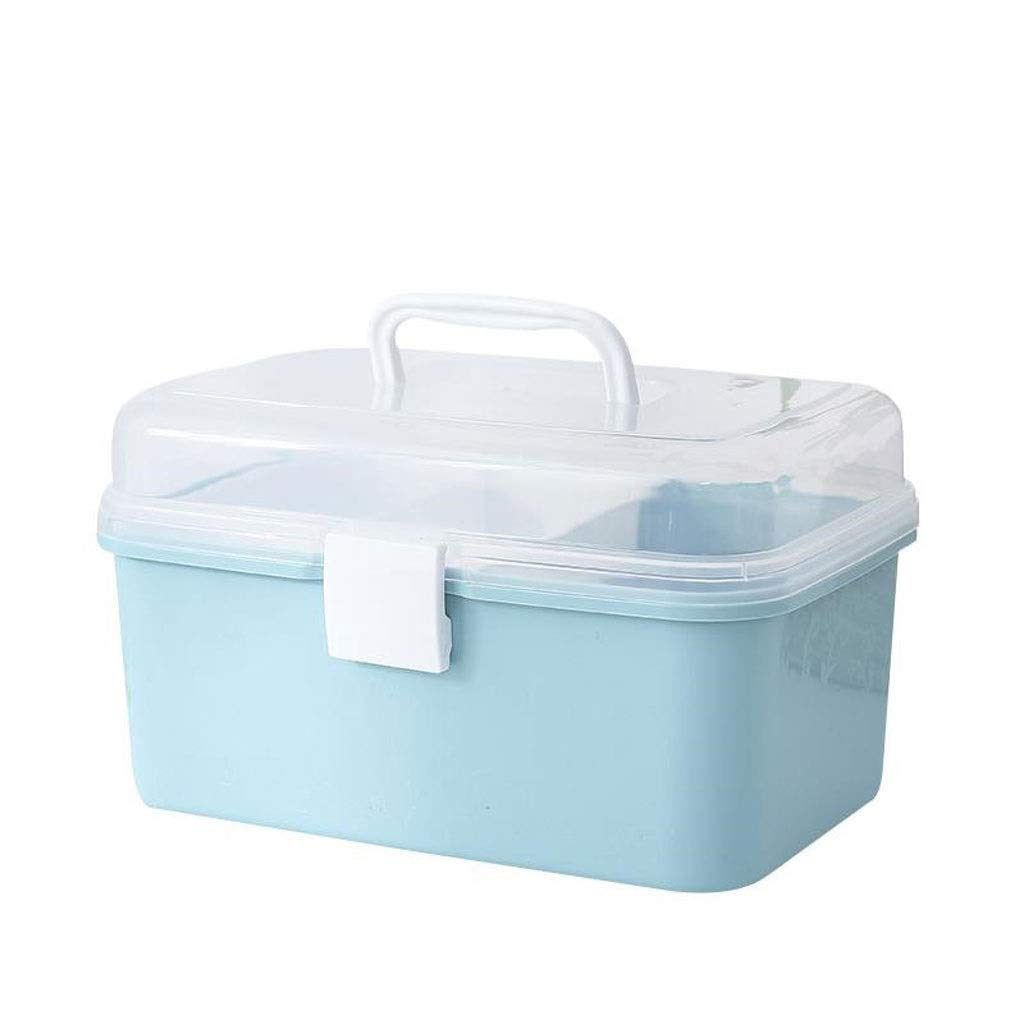Medicine box Storage Box Desktop Bedroom Storage Box Portable Medicine Storage Box Home HUXIUPING (Color : Blue)