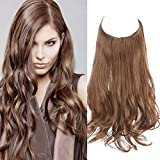 SARLA Hair Extension Halo Light Golden Brown Curly Long Synthetic Hairpiece 16 Inch 3.9 Oz Hidden Wire Headband for Women Heat Resistant Fiber No Clip (M03&12#)