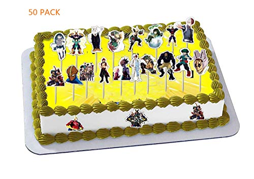 My Hero Academia Cake Toppers, MHA Brithday Party Supplies - 50 Pack DIY Cupcake Toppers for Anime Party Favors Cake Decoration