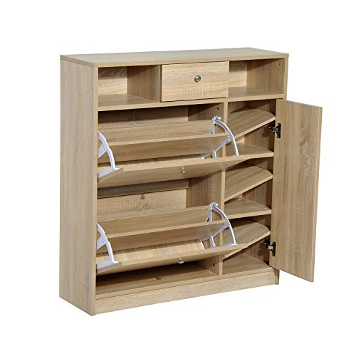 HomCom Shoe Cabinet - Pull Out Door & Drawer Organizer Closet - White Oak from HOMCOM