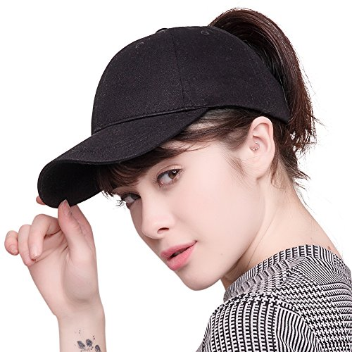 Walking Baseball (FURTALK High Bun Ponytail Baseball Cap Hat Adjustable Cotton Trucker Baseball Cap Hat for Women Girls)
