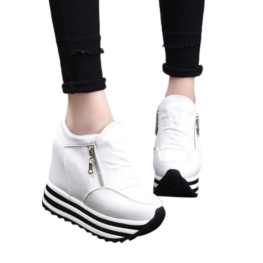 Claystyle Womens Increased Within The Higher Flat Shoes Side Zipper Casual High Heels Wedges Platform Sneaker(White,US: 7) by Claystyle Shoes (Image #1)