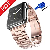 HONEST KIN Watch Band for Apple Watch 42mm Solid Stainless Steel Metal Apple Watch Strap Business Replacement iWatch Strap for Apple Watch 42 Series 3/2/1 Sport and Edition-Rose Gold
