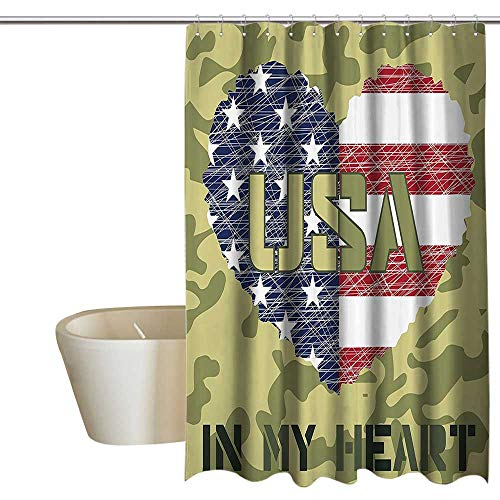 Anshesix National Bathroom Shower Curtain Heart Shaped American Flag Military and Grunge Style Illustration Art Treated to Resist Deterioration by Mildew 55