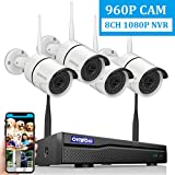 【2019 New 8CH Expandable】OHWOAI Security Camera System Wireless, 8CH 1080P NVR, 4Pcs 960P HD Outdoor/ Indoor IP Cameras,Home CCTV Surveillance System (No Hard Drive)Waterproof,Remote Access,Plug&Play,