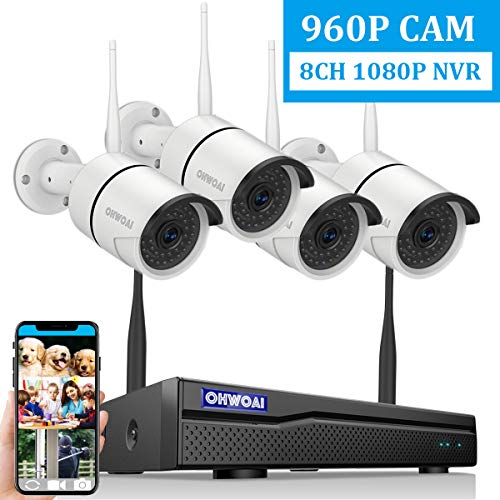 【2020 New 8CH Expandable】OHWOAI Security Camera System Wireless, 8CH 1080P NVR, 4Pcs 960P HD Outdoor/ Indoor IP Cameras,Home CCTV Surveillance System (No Hard Drive)Waterproof,Remote Access,Plug&Play,