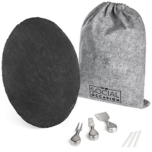 """Large Oval Slate Cheese Board Set Complete with 3 Stainless Steel Knives, Soapstone Chalk, FREE BONUS Storage Bag - 16"""" x 12"""" – Charcuterie, Appetizer, Sushi, Tapas Serving Tray by Social Occasion"""