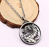 Libaraba Vintage Mortal Kombat Dragon in Circle Pendant Necklace with Jewelry Box,Dragon Necklace for Men (Gray)