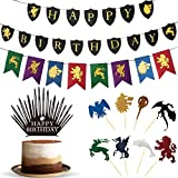 Game of Thrones Party Supplies - GoT Birthday Decorations - Game of Thrones Cake Toppers and Birthday Banner - Birthday Party Favors - GOT Party Pack