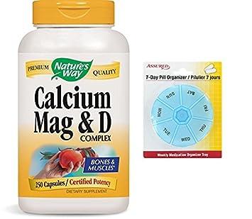 De la naturaleza forma calcio, magnesio y vitamina D, 250 cápsulas con gratis 7