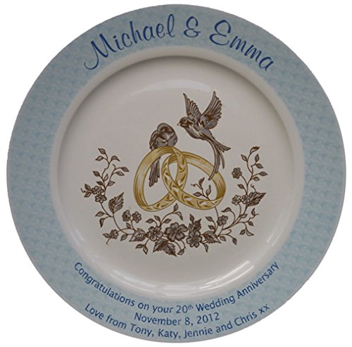 Personalized Bone China Commemorative Plate For A 20th Wedding Anniversary - Rings And Doves Design With A Blue Rim