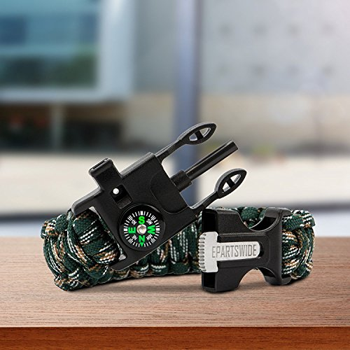 Epartswide Multifunctional Outdoor Survival Paracord Bracelet with Flint Fire Starter,Compass,Emergency Whistle&Knife/Scraper Pack of 7 by Epartswide (Image #4)