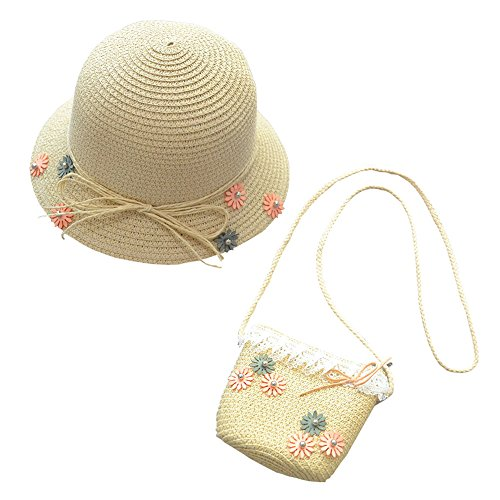 Rowai Straw Sun Hat Bag Set, Cute Bow Summer Beach Flower Bow Lace Sun Cap and Handbag for Kids Girls ()