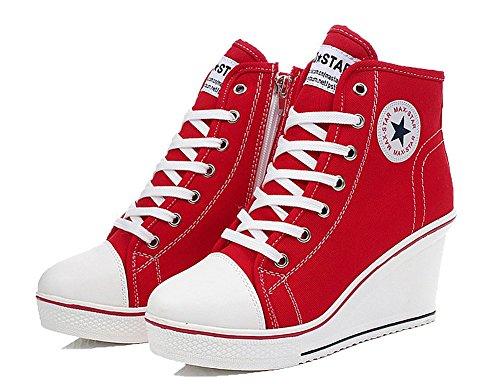 Allacciate Sneaker 8 Cm Lato Zip Scarpe Tela Wealsex Da Zeppa Alte Moda Donna Rosso pwqdfxZ