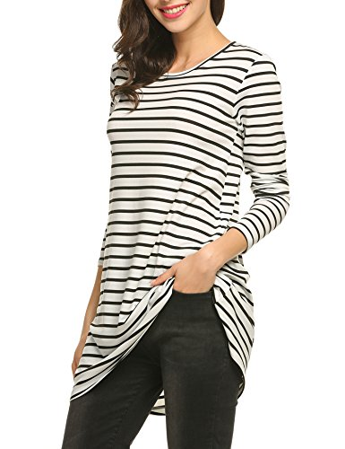 Sleeve Flared O Dress Striped Line Neck amp;white Casual Short Style black ACEVOG Summer A Women 2 CwqI88