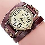 Hunputa Luxury Brand Vintage Cow Leather Bracelet Watch Men Women Wristwatch Ladies Dress Quartz Watch (Brown)