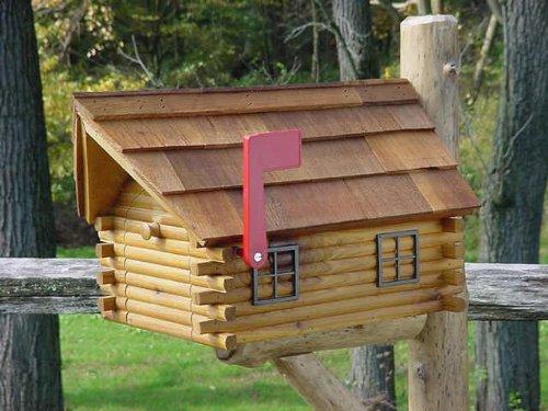 (Amish Cedar Log Cabin Mailbox)