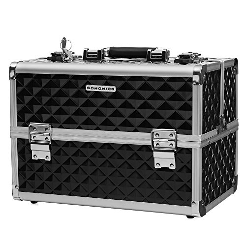 "SONGMICS 13.5"" Makeup Train Case Professional Cosmetic Box with Adjustable Dividers 4 Trays and 2 Locks Black UMUC12C"